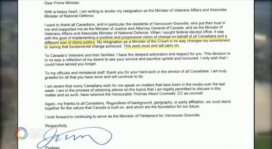 聯邦涉嫌政治介入魁省工程公司一案 前司法部長突然宣佈辭職(BC) – 2019FEB13