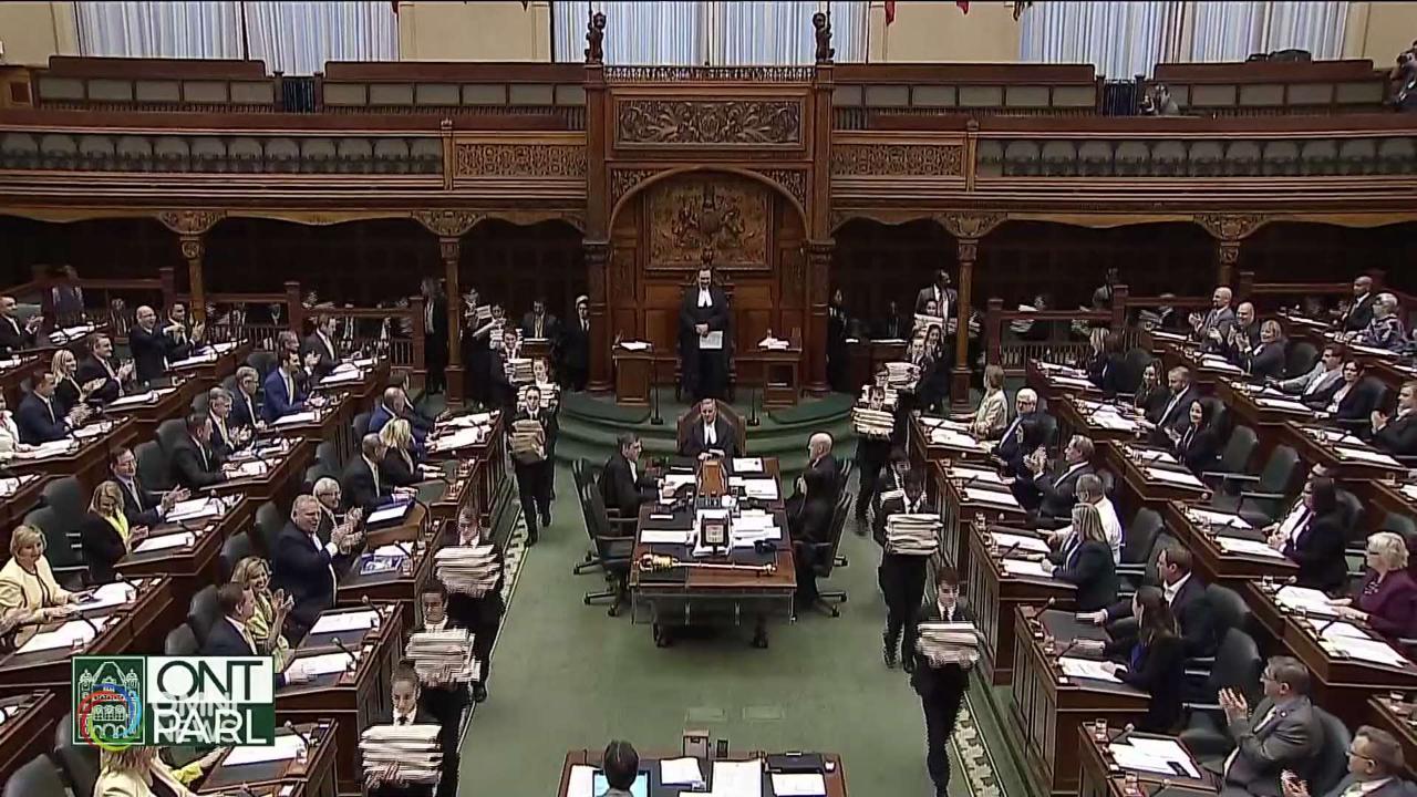Ontario Budget 2019, il primo per il governo di Doug Ford