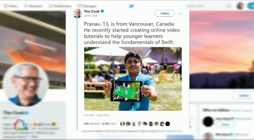 """蘋果 """"全球開發者大會""""  溫哥華少年設計應用程式  脫穎而出(BC) -2019JUNE19"""