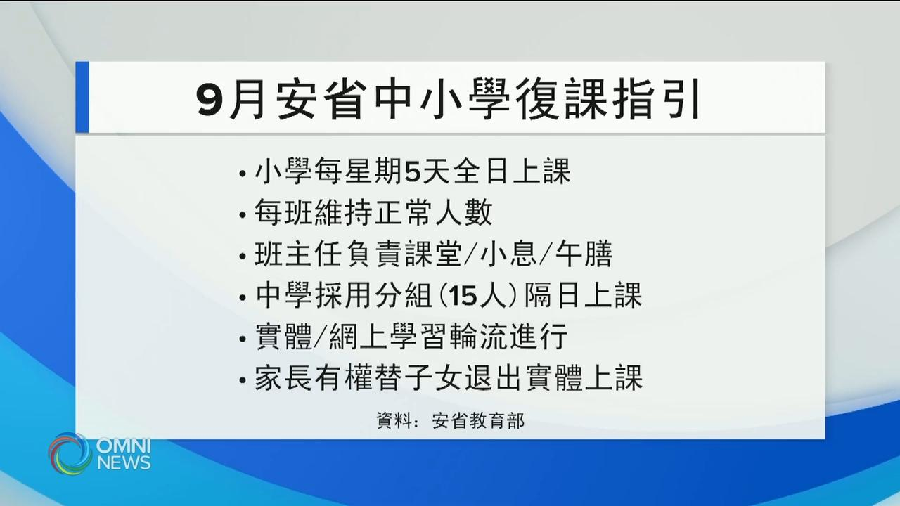 省府公布9月新学年中小学复课计画 - Jul 30, 2020