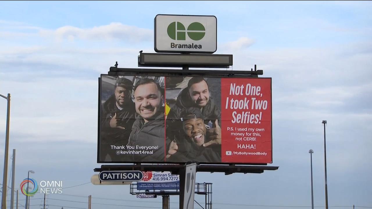 Kevin Hart fan unveils billboard selfie