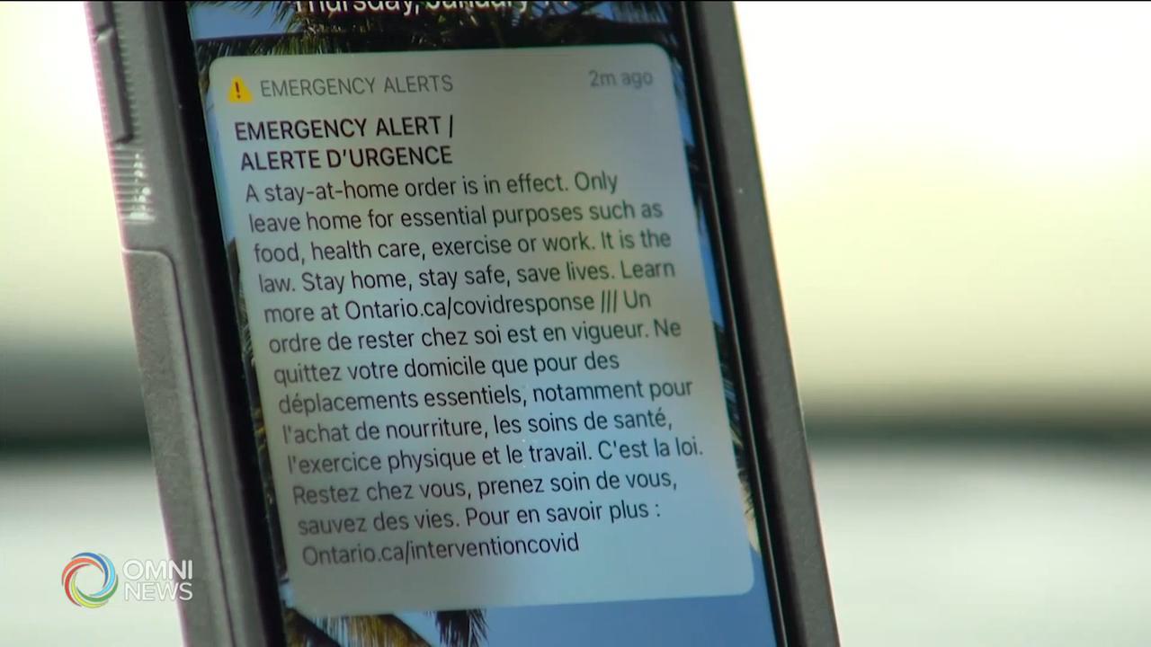 警報系統提醒強制居家令今日開始 — Jan 14, 2021 (ON)