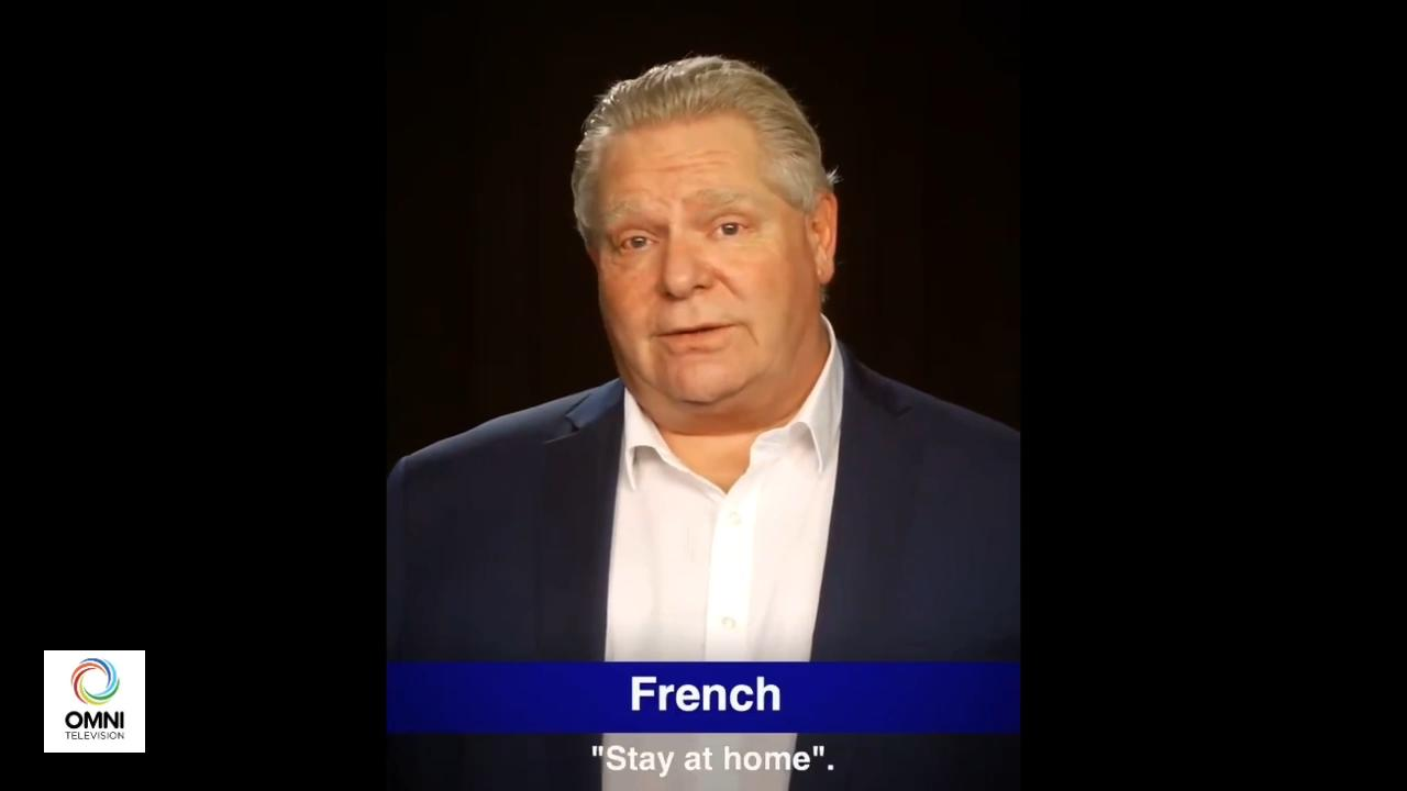 Ontario Premier Doug Ford tells residents to stay home in 22 different languages